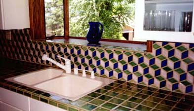 Ceramic countertop backsplash